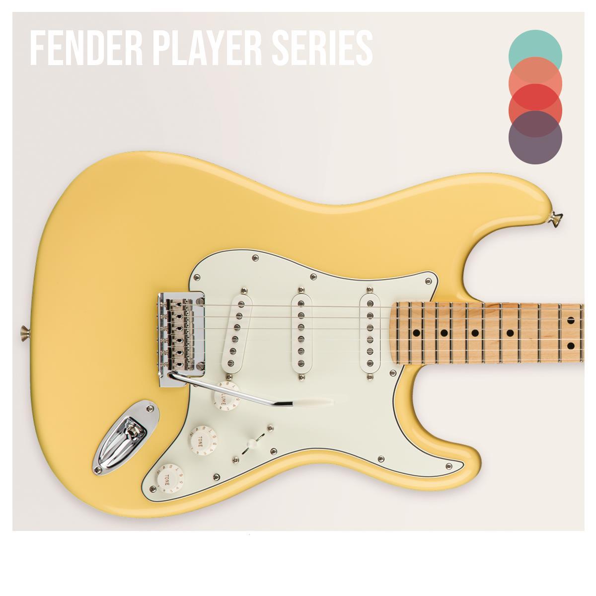 """Una serie que esta sustituyendo a la Standard, modificando el mástil (estilo C), unas pastillas diseñadas por Fender con el nombre de """"Player Series Alnico"""" y una manufactura mexicana. ¡Corre por la tuya!"""